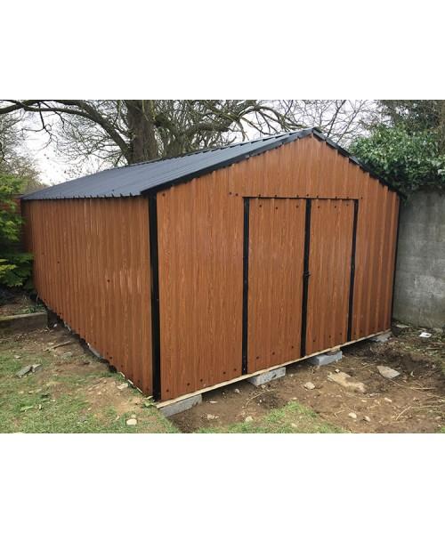 10ft x 20ft wood grain steel shed garden sheds for sale for Wooden garden sheds for sale
