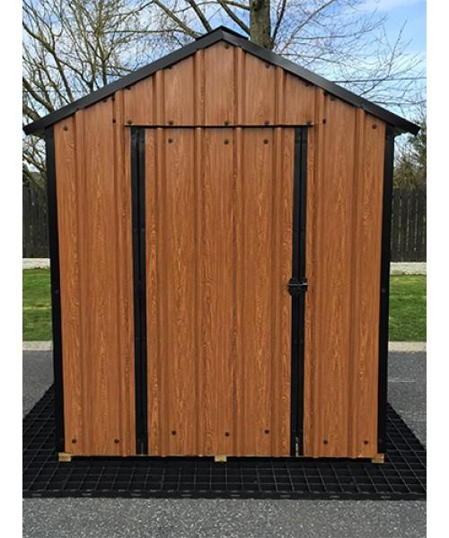 6ft x 6ft wood grain steel shed garden sheds for sale for Wood sheds for sale