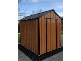 10ft x 6ft Wood Grain Steel Shed
