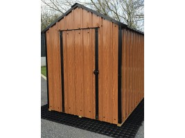 14ft x 6ft Wood Grain Steel Shed