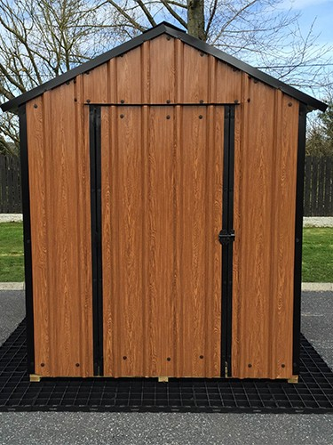 16ft x 6ft Wood Grain Steel Shed