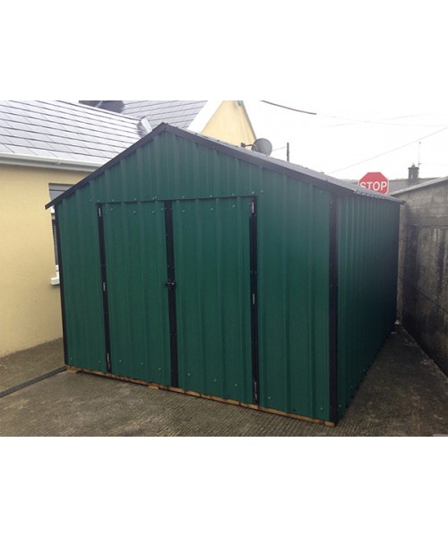 16ft x 8ft green steel garden shed garden sheds for sale for Steel sheds for sale