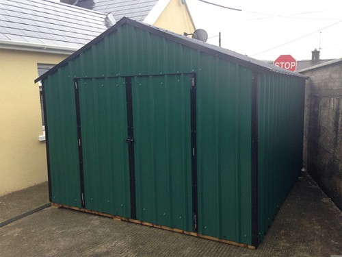 10ft x 10ft Green Steel Garden Shed