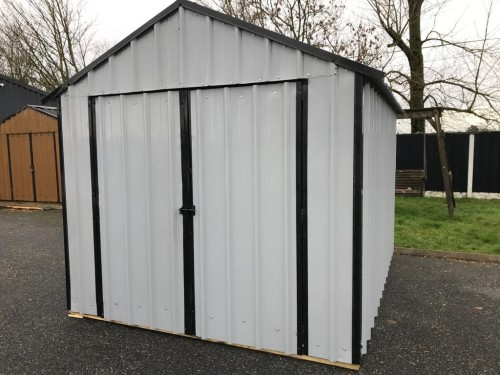 10ft x 8ft Grey Steel Garden Shed