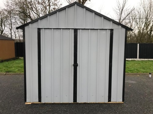 10ft x 10ft Grey Steel Garden Shed
